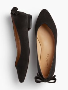 Black Vintage Flats and Low Heel Shoes Edison Suede Bow Back Flats