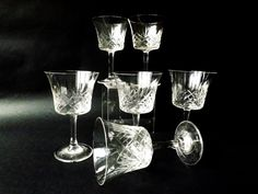 6 Edwardian Glasses, Small Drinking Glasses, Small Coupe,  Antique Sherry Glass, Vintage Cocktail Stemware Barware, Port Glass, Special Gift by CuriosAnCollectibles on Etsy