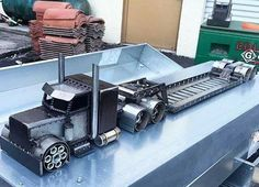 Metal truck sculpture..