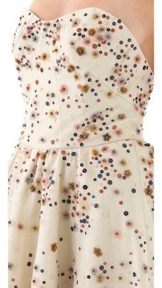 Lela Rose Embroidered Strapless Dress