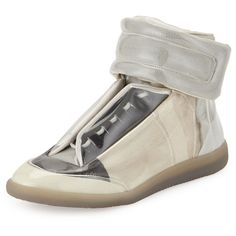 Maison Margiela Future Translucent High-Top Sneaker (£940) ❤ liked on Polyvore featuring men's fashion, men's shoes, men's sneakers, taupe, mens velcro strap sneakers, mens high top sneakers, mens high top shoes, mens monk strap shoes and maison margiela mens shoes