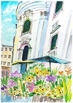 "Travel art Painting ""Flower market in Salzburg, Austria."" Market art. Painting drawing historic building. Home decor Salzburg. Original art"