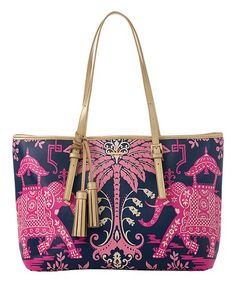 Spartina 449 Pink Elephant Retreat Tote   zulily