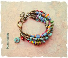 Boho Colorful Layered Bracelet Bohemian Jewelry bohostyleme