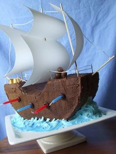Super cute pirate cake! Candles are the canons coming out of the side!!!!