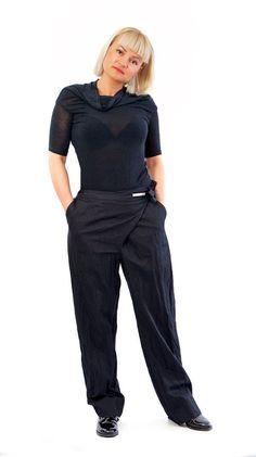 Black loose cotton pants/Casual extravagant black pants/Woman black pants/Drop crotch loose pants/Black linen cotton Trousers/P1336