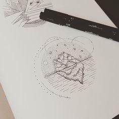 """""""Iceberg under stars #graphicbyd #geometric #icebergtattoo #minimalist #minimalisttattoodesign #tattoodesign #vsco #linework #dotwork #dotworktattoo…"""""""