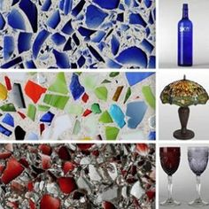 Time to recycle those wine bottles! I'd rather use this on a boring plain planter to make a mosaic design rather than counter tops like somone had mentioned, though it would be pretty.
