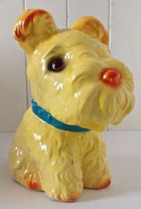 """Vintage 1970. Collection Tirelire """"Fox Terrier"""" porcelaine Japon"""