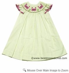 bc180ead379 Secret Wishes Girls Green Striped Smocked Hot Pink Crabs BISHOP Dress Boys  Summer Outfits