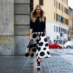 The L.K.Bennett Full Midi Skirt as modeled by Haut Appetit