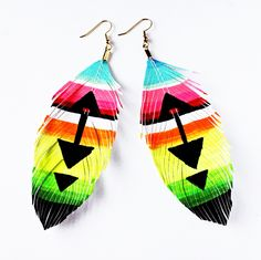 Pocahontas - Hand Painted Faux Leather Feather Earrings - via Etsy.