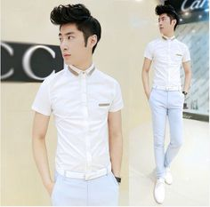 2014 Brand New Patchwork Men's Fashion Shirts High Quality Slim Fit Daily Work Shirts  $24.66