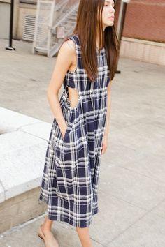Caron Callahan. Goa Dress in Blue Plaid