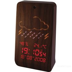 woodstation clock and weather station, how cool would it be if this just blended in with other wood but lit up if you touched it or asked it too? tech doesn't have to be glaringly obvious!