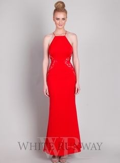 Isabella Dress by Love Honor. A stunning full length dress by Australia designer Love Honor. A high neckline style featuring lace applique on the waistline. Available in Papaya, Scarlet, Ivory & Black.