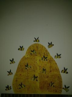 Beehive and bees. Easy art project to do with infants and toddlers.