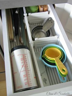 For small or uncommon drawer sizes, you can purchase interchangeable drawer dividers to organize smaller items.  This one was purchased at Bed, Bath, and Beyond and I know Ikea has similar options.