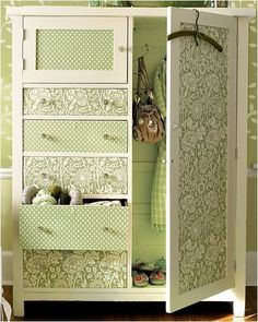 25 Amazing DIY Furniture Makeovers With Wallpaper – Furniture Makeover & Furniture Design Refurbished Furniture, Ikea Furniture, Furniture Layout, Furniture Styles, Repurposed Furniture, Shabby Chic Furniture, Furniture Makeover, Vintage Furniture, Cool Furniture
