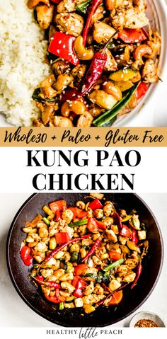 This Kung Pao Chicken dish is and Gluten Free and is a must-have for all your Chinese takeout lovers. The chicken stir fry drenched in the Kung Pao sauce will make you believe that healthy can truly tastes delicious. Easy Whole 30 Recipes, Gluten Free Recipes For Dinner, Paleo Whole 30, Paleo Dinner, Healthy Dinner Recipes, Whole Food Recipes, Vegetarian Dinners, Healthy Dinners, Easy Recipes