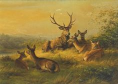 laclefdescoeurs:  A Stag and Does Resting in a Landscape, Johannes Christian Deiker