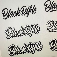 """""""Black Rifle"""" treatments by @sweyda  #typespot for a feature! ____ #typography #type #typo #customtype #graphicdesign #script #letters #lettering #handlettering #customlettering #vector ____ #typegang #typecally #typetopia #typematters #thedailytype #strengthinletters #goodtype #ligaturecollective #typespire #typographyinspired #artoftype #designspiration #todaystype #thedesigntip #50words by typespot"""