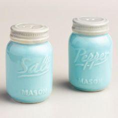 Blue Mason Jar Salt And Pepper Shaker Mason Jar Kitchen Decorkitchen
