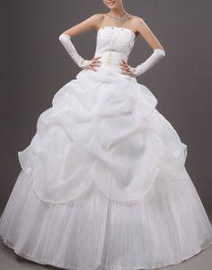 Beige ball gown strapless floor-length crystal yarn wedding dress with cascading ruffle US$74.50