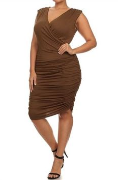 Plus Size Mocha Ruched Sleeveless Low V Midi Dress Size 3X #Unbranded #StretchBodycon #Clubwear