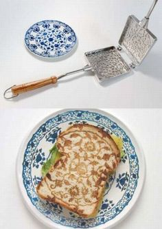 Pretty for a brunch... Delfts Toasting Pan & Plate from Minale- porcelain patterns on your sandwich slices of bread.