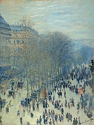"Claude Monet's ""Boulevard des Capucines,"" 1873-1874.  The Nelson-Atkins Museum of Art - Collections.  Video about the painting @ 4:10: (http://smarthistory.khanacademy.org/1848-1907-Industrial-Revolution-II.html)"