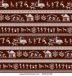 Warli painting seamless pattern - hand drawn traditional the ancient tribal art India. Pictorial language is matched by a rudimentary technique depicting rural life of the inhabitants of India Arte Tribal, Tribal Art, Worli Painting, Pottery Painting, Madhubani Art, Madhubani Painting, Traditional Paintings, Traditional Art, Indian Wall Art