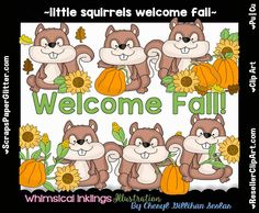 Little Squirrels Welcome Fall Clip Art - Commercial Use, Digital Image, Clipart - Instant Download - Harvest, Thanksgiving, Pumpkin Patch by ResellerClipArt on Etsy