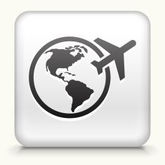 Square Button with Traveling the World royalty free vector art vector art illustration