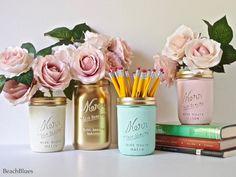 Dorm Decor Pink Copper Gold Mint Cream Painted by BeachBlues