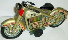 VENUS 1960 TIN FRICTION MOTORCYCLE. Marked T.N.Japan   . 1960 on back licence plate.