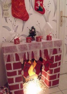 Une décoration de noël ou le bricolage de Noël qu'il faut réaliser comme la décoration du sapin. Il faut faire une fausse cheminée en carton pour Noël.                                                                                                                                                                                 Plus