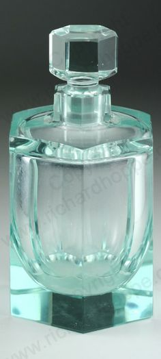 VINTAGE GLASS: c.1920-30 MOSER ART DECO BERYL CUBIST DRESSING TABLE SCENT PERFUME BOTTLE. To visit my website click here: http://www.richardhoppe.co.uk or for help or information email us here: info@richardhoppe.co.uk