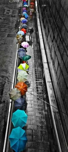 A splash of color in the rain! I would be the guy with no umbrella enjoying the rain. Color Splash, Color Pop, Colour Black, Fotografie Portraits, I Love Rain, Foto Poster, Umbrellas Parasols, Colorful Umbrellas, Under My Umbrella