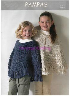 childrens poncho knitting pattern 99p by Heritageknitting1 on Etsy