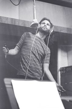"Jim Morrison recording ""Waiting for The Sun"" with The Doors, 1968."