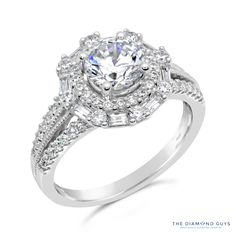 Diamond Halo Engagement Ring Setting - The Diamond Guys Collection Center Diamond Cut: Round Cut  Side Diamonds: 64 (weight = 0.83ct)