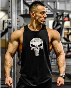 T-Shirts Men Gym Singlet Bodybuilding Tank Top Punisher Muscle Shirt T-Shirt Fitness Vest Gym Tank Tops, Workout Tank Tops, Workout Shirts, Fitness Shirts, Men's Tanks, Gym Shirts, Bodybuilding Clothing, Bodybuilding Workouts, Men's Bodybuilding