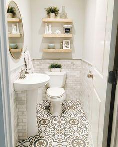 36 New Ideas For Small Bathroom Storage Modern Powder Rooms Tiny Powder Rooms, Modern Powder Rooms, Powder Room Decor, Powder Room Design, Powder Room Storage, Small Half Bathrooms, Tiny Half Bath, White Bathrooms, Bathroom Black