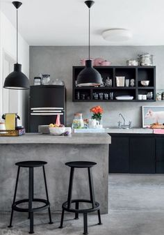 concrete bar, black cabinets & accents