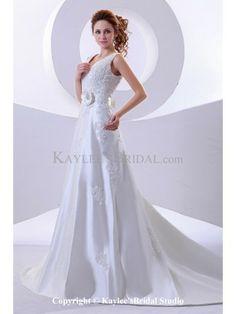 Satin V-Neckline Court Train A-Line Wedding Dress with Flower