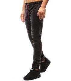Čierne pánske jogger nohavice s džínsovým vzhľadom