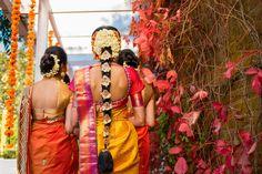 South Indian bride. Temple jewelry. Jhumkis.Yellow silk kanchipuram sari.Braid with fresh jasmine flowers. Tamil bride. Telugu bride. Kannada bride. Hindu bride. Malayalee bride.Kerala bride.South Indian wedding.