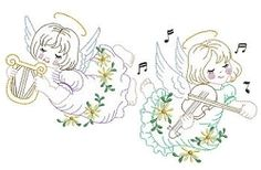 Vintage Prayer Set, 10 Designs - 3 Sizes! | Angels | Machine Embroidery Designs | SWAKembroidery.com