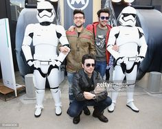 Singers of Italian opera pop Il Volo Piero Barone, Gianluca Ginoble and Ignazio Boschetto pose with the Stormtroopers during 'Matchless London' Presentation on January 12, 2016 in Florence, Italy.